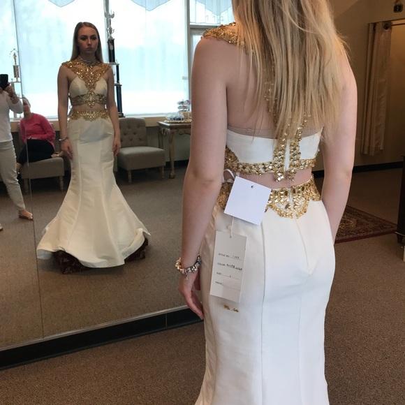 50d1362f0bc7 Rachel Allan Dresses | Two Piece White And Gold Prom Dress | Poshmark
